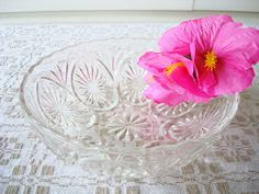 Vintage Anchor Hocking Bowl  Clear Hocking Glass  by Kisses4Lucy