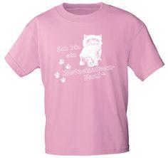 Kinder T-Shirt, Grundfarbe rosa mit aufwändigem, farbintensivem und langlebigem Motivdruck Ich bin ein Mietzekatzen-Fan