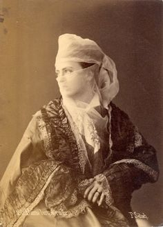 Dame Turque voilee ( veiled Turkish lady). 1880s  Albumen photograph by Pascal Sebah (1823-1886) .  Pascal Sébah was one of the most important professional photographers in the Ottoman Empire.