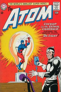 Don't laugh: Dr. Light has Atom trapped in his light bulb of doom!
