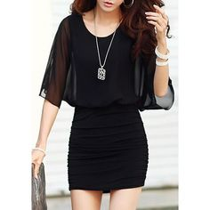 Elegant Scoop Neck Dolman Sleeve Hollow Out Ruched Bodycon Dress For Women