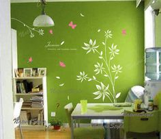 floral wall decals flower vinyl wall decals girl nursery wall decals sticker children wall decal-White Flower with Butterflies- can change color