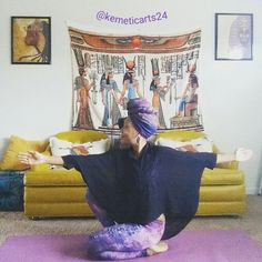 Maat pose represent, balance, order love, perception. Flexibility in hips, knees ankles, spinal rotation. KEMETIC YOGA (ancient Egyptian )