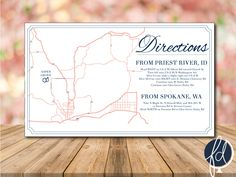 Directions Card Custom Wedding Map Details Invitation Design Ceremony To Reception Enclosure PRINTABLE