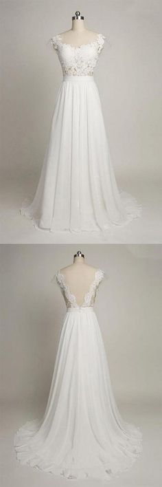Cap Sleeves Sweetheart Long Chiffon Wedding Dress with Lace,Long Elegant Backless Wedding Gowns