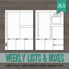 Weekly Lists & Boxes Planner Inserts - A5 Printable Planner - Bullet Journal Inspired - Blank, Square, Dot Grids - Week Layout Undated Wo2P