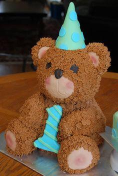 A Little Something Sweet - Custom Cakes: Cuddly Teddy {First Birthday Teddy Bear Cake}