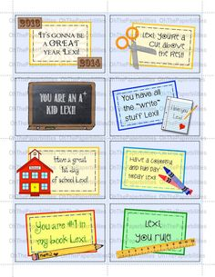 DIGITAL,  PERSONALIZED lunchbox notes.  School Days set.  Great encouragement for your children at school.