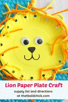 Make this cute lion paper plate craft - supply list and directions at craft homeschool animalcraft lioncraft kids lion paperplatecraft via thatbaldchick Animal Crafts For Kids, Toddler Crafts, Diy For Kids, Sunday School Activities, Craft Activities For Kids, Class Activities, Infant Activities, Craft Ideas, Paper Plate Crafts