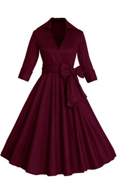 Women's fit and flare mid length dress with matching ribbon belt S-4XL perfect for modest and formal look!
