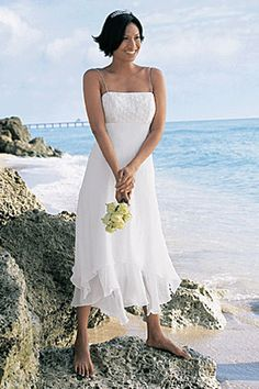 Casual beach wedding attire. Khaki and white for the groom, simple ...