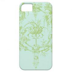 iPhone 5 case in leaf green and aqua toile