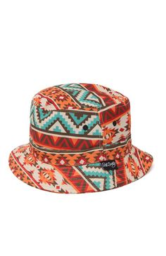 bb8dbddbc91 This comfortable men s bucket hat offers a trendy tribal print and a Riot  Society logo loop on the multi color print bucket Society nbsp logo loop on  size ...