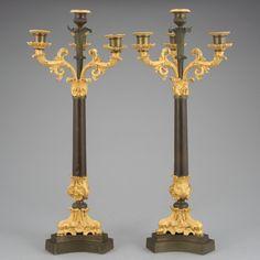 Par de candelabros Franceses de meados do sec.19th, em bronze patinado e gilded a ouro, Empire, 55cm de altura, 11.575 USD / 10,320 EUROS / 41,350 REAIS / 73,760 CHINESE YUAN https://soulcariocantiques.tictail.com