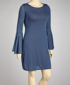 Navy Bell-Sleeve Sweater Dress - Plus #zulily #zulilyfinds