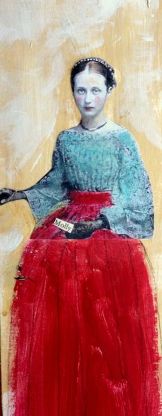 Tall Girl  Molly on found  wood   long mixed media painting by MaudstarrArt