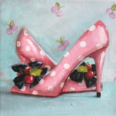Cherry Heels painting original ooak canvas pink polka by 4WitsEnd