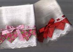 Image result for pano de prato pintado com barrado de tecido