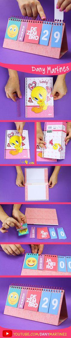 Faça você mesmo um calendário de mesa super fofo, kawaii, cute, Dany Martines, DIY, do it yourself