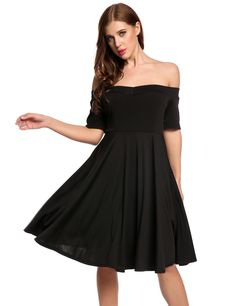 Black Off Shoulder Short Sleeve Solid Swing Casual Dress