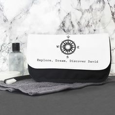 Our Compass Wash Bag is a wonderfully unique gift for him on any occasion.  Personalise with 1 line of text up to 40 characters including spaces and punctuation.   Please refrain from using BLOCK CAPITALS and special characters as this may impair the quality of the personalisation.   Our wash bags features a main compartment and two separate compartments inside all of which are secured with a Velcro close, the main body of the bag is a woven polyester.  A great gift for Father's Day…