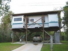 Sometimes a travel trailer has overstayed its welcome or is no longer needed for its intended purpose. Putting it out to pasture and getting a new one is Portable Pools, Portable Bar, Rv Carports, Fishing Shack, Ice Fishing, Redneck Humor, Camper Renovation, Remodeled Campers, Rv Life