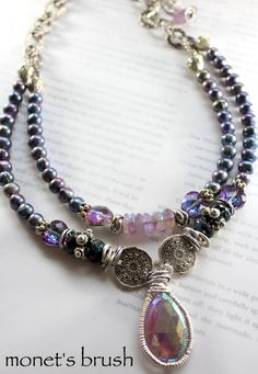 ON SALE necklace amethyst necklace spinel necklace by soulfuledges Purple Necklace, Amethyst Necklace, Beaded Necklace, Pendant Necklace, Cool Necklaces, Statement Necklaces, Jewelry Necklaces, Bohemian Necklace, Silver Beads