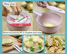 8 in 1 Vegetable Slicer Potato Peeler Carrot Onion Grater with Strainer Vegetable Cutter Kitchen Accessories – Pikewear Vegetable Slicer, Vegetable Salads, Potato Peeler, Mandolin Slicer, Kinds Of Vegetables, Food Chopper, Sliced Potatoes, Food Preparation, Food Grade