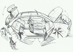 Sketches we like / Carsketch / Transporttaional sketch / pencil / Linework / People / at tastysketch