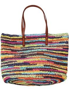 Womens Multi-Stripe Straw Totes