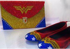 Women s Sparkly SuperHero Glitter Clutch Purse Gold Blue Red White Wonder  Woman bfc1a87c1