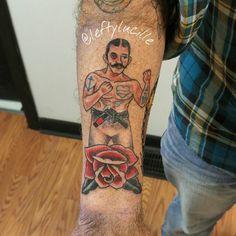 #americantraditional #fighter #tattoo modified #boxertattoo into a #jiujitsu #blackbelt. #AlbanyNY #TroyNY #enjoytroy #TriedAndTrueTattooCo #Schenectady #HudsonValley #Catskills #upstateny #518  #femaletattooartist #tattooswithtattoos #forearmtattoo #newtraditional