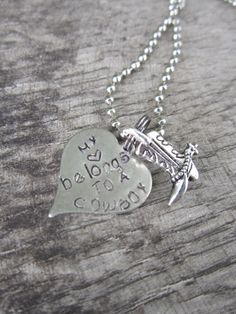 My Heart Belongs to a Cowboy/Cowgirl Hand Stamped by girlinair, $20.00