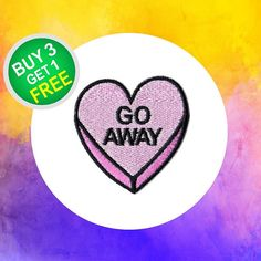Go Away Patches Heart Shaped Patch Iron On Appliques Embroidered