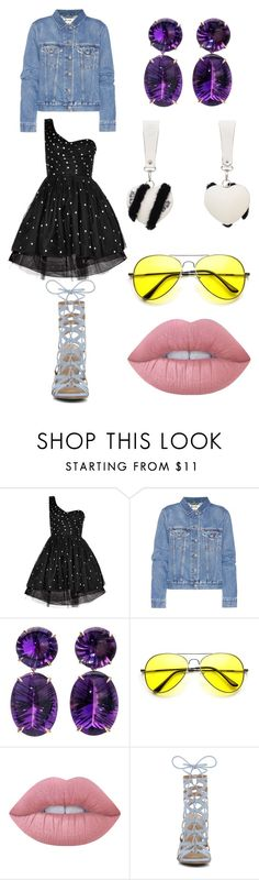 """""""Party look with denim jacket"""" by lovuee on Polyvore featuring Yves Saint Laurent, Acne Studios, Lime Crime, ALDO, black, denim and Lovuee"""
