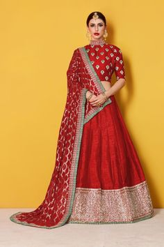 This set features a red art silk zari and sequins work bordered lehenga. It comes along with zari and dori lace work on dupatta and heavy embroidery sequins Indian Wedding Wear, Indian Bridal Outfits, Indian Bridal Lehenga, Indian Bridal Fashion, Silk Lehenga, Indian Designer Outfits, Cotton Lehenga, Banarsi Saree, Choli Designs