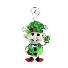 Acrylic Green Elf Ornament