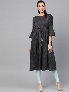 Adorable grey embroidered aline kurta crafted with cotton blend also style with thread work. Indian Dresses Online, Lehenga Style, Thread Work, Grey Stripes, Daily Wear, Fashion Dresses, Bridesmaid Dresses, Gowns, Cotton