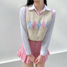 Kawaii Fashion, Cute Fashion, Girl Fashion, Fashion Outfits, Crop Top Sweater, Jumper, Argyle Sweater Vest, Sweater Vest Outfit, Cute Casual Outfits