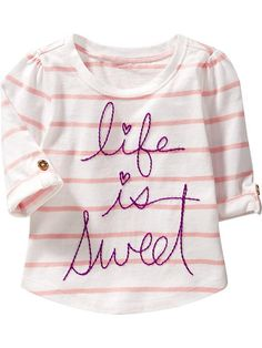 Roll-Sleeve Graphic Tees For Baby Product Image