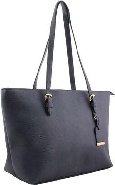 Navy Mk Design Fashion Per Tote Shoulder Handbag With Free Gold Key Ring