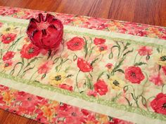 Field of Poppies Quilted Table Runner by susiquilts on Etsy, $50.00