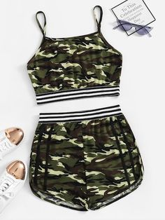 Shop Camo Print Tape Panel Cami Top With Shorts online. ROMWE offers Camo Print Tape Panel Cami Top With Shorts & more to fit your fashionable needs. Camo Girl Outfits, Friend Outfits, Sporty Outfits, Teen Fashion Outfits, Swag Outfits, Outfits For Teens, Girl Fashion, Summer Outfits, Girl Camo
