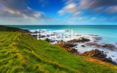 Katiki Point coastline on long exposure, New Zealand - Stock Image