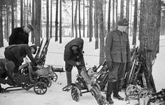 Finnish troops gathering captured Soviet weapons, Taipale, Finland, circa 27-28 Dec 1939