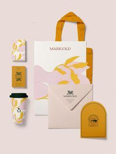New in Portfolio: Marigold Branding by Cocorrina - MKS Web Design Graphisches Design, Logo Design, Design Studio, Brand Identity Design, Graphic Design Branding, Advertising Design, Logo Branding, Brand Design, Coffee Shop Branding