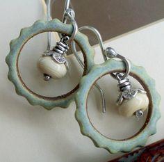 Silver Earrings Sage Ceramic Gear Link Hoop Sandstone Lampwork Dangle Sterling. $38.00, via Etsy.