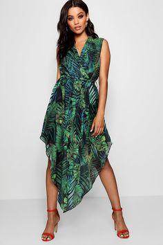 Plunge Palm Print Hanky Hem Shirt Dress | Boohoo UK Wrap Dress, Dress Up, Shirt Dress, Bodycon Fashion, Palm Print, Cool Tones, Dress Collection, Boohoo, Skater Dresses