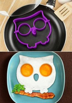 make your kids breakfast in the shape of an owl sitting on a bacon branch. Owl breakfast party food maybe? Available in Australia Geek Gadgets, Cool Gadgets, Cute Food, Good Food, Egg Molds, Huevos Fritos, Owl Always Love You, Kitchen Gadgets, Kitchen Utensils
