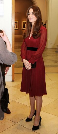 The Duchess looked gorgeous at the private unveiling of her new portrait, wearing a simple belted maroon dress from high street favorite Whistles Sofie Rae Dress. 1/11/2013